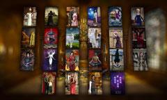 Grosse Tafel mit Tarotkarten