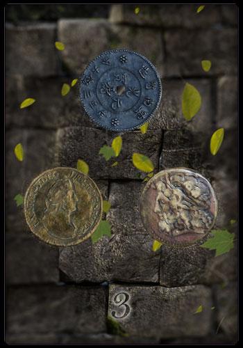 Tarotkarte - Drei der Münzen