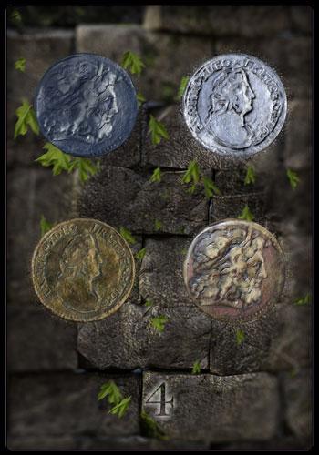 Vier der Münzen