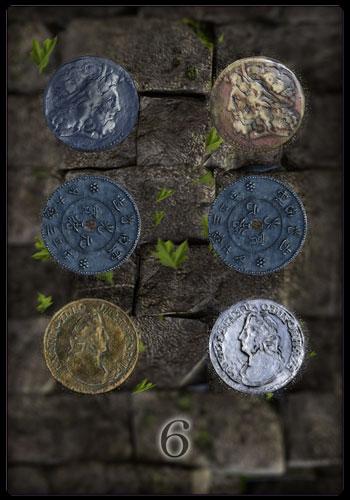Tarotkarte - Sechs der Münzen