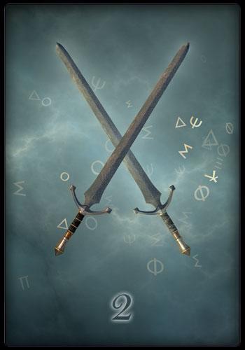 Tarotkarte - Zwei der Schwerter