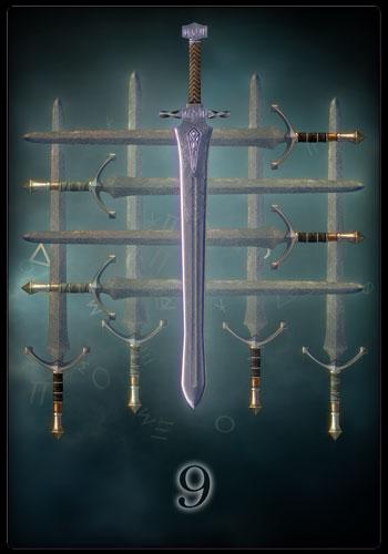 Tarotkarte - Neun der Schwerter